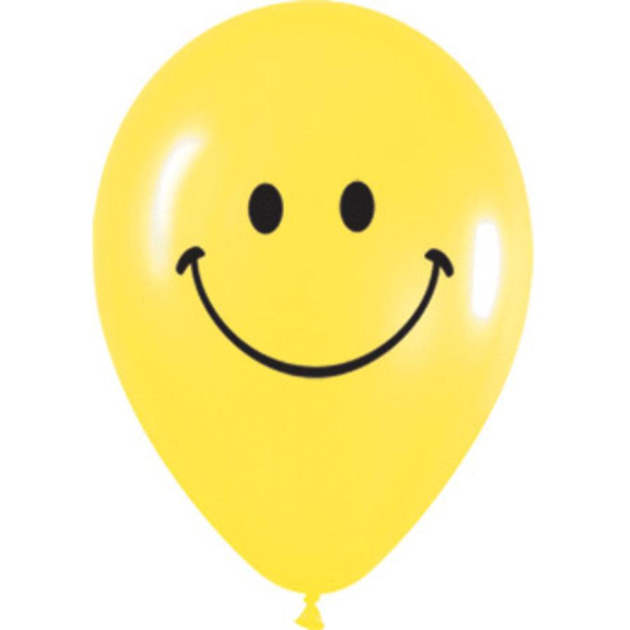 Ballonnen smiley 5 stuks geel