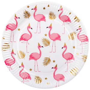 Bordjes Flamingo goud wit roze 6 stuks