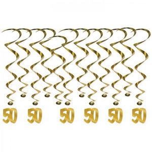 Hangdecoratie 50 jaar goudkleurig 12 delig
