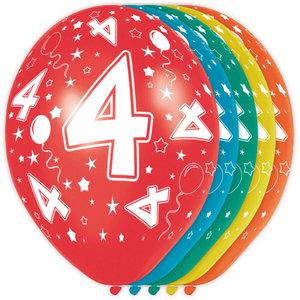 4 jaar ballonnen rondom bedrukt