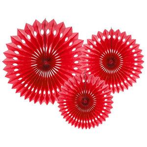 Honeycomb waaier set rood 3 stuks