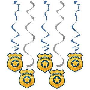 Hangdecoraties politiebadge 5 stuks