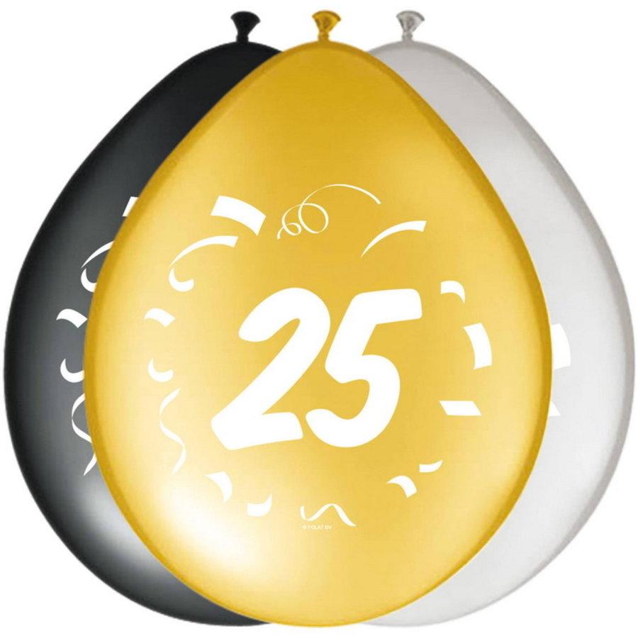 Ballonnen 25 jaar goud zilver zwart