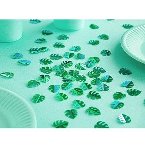 Glitter confetti jungle palmbladeren groen
