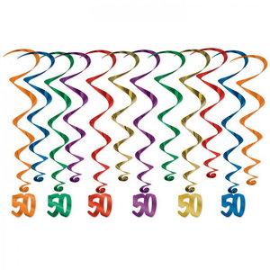 Hangdecoratie Whirls 50 jaar 12-delig