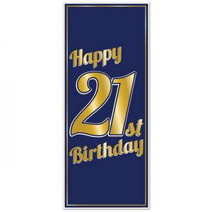 Deurposter 21 jaar blauw stijlvol