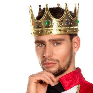 Kroon koning goud met gekleurde stenen