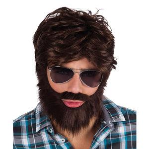 Pruik Dude met baard bruin
