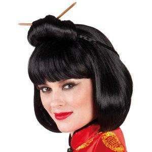Pruik Chinese dame met haarstokjes
