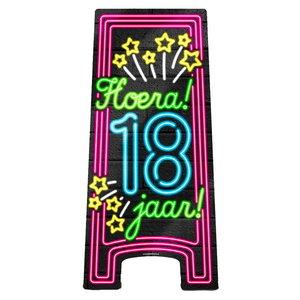 NEON Partybord hoera 18 jaar