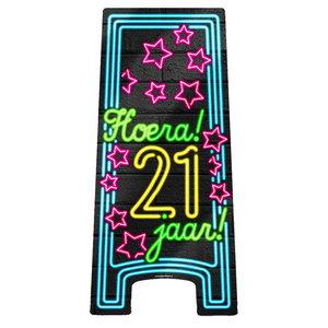 NEON Partybord hoera 21 jaar