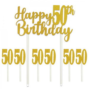 Taartdecoraties 50 jaar happy birthday glittergoud