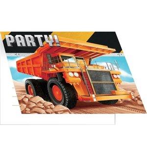 Uitnodigingskaartjes Mega bouwauto 8 stuks