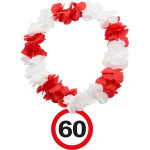 Hawaiikrans 60 jaar rood-wit