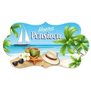 Deurbord Hoera Pensioen strand