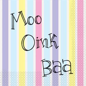 Servetten Moo Oink Baa pastel