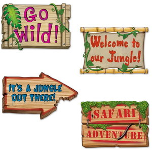 Decoratie Jungle Signs 4 stuks