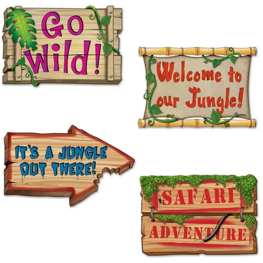 Decoratie Jungle Signs 4 stuks