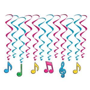 Hangdecoratie Whirls Muzieknoten neon