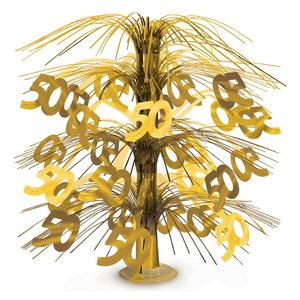 Tafeldecoratie 50 jaar goudkleurig luxe