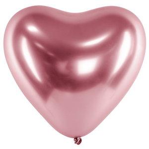 Ballonnen hart metallic roze 6 stuks
