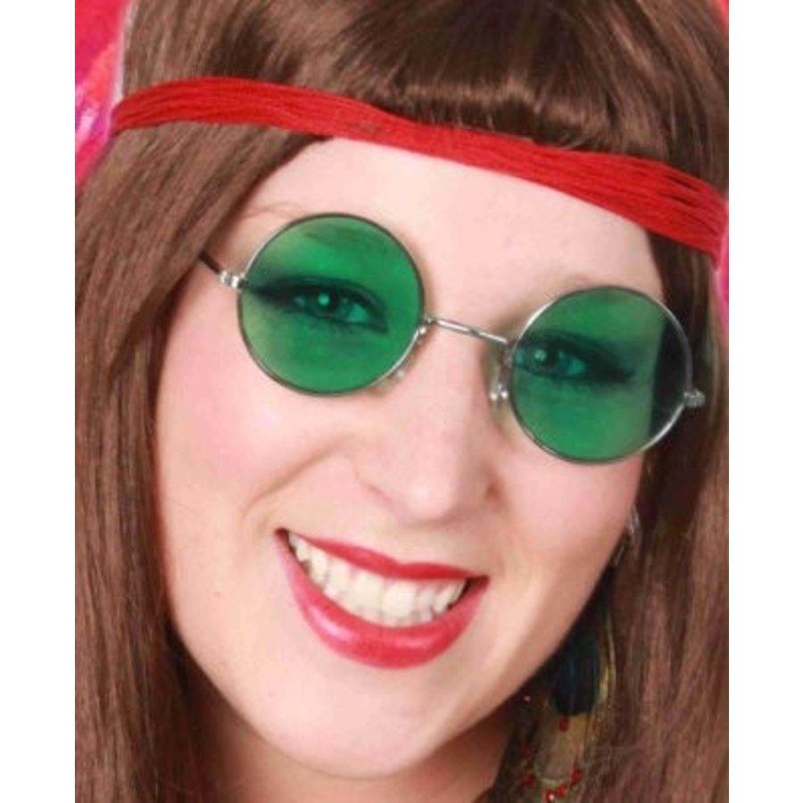 Bril hippie met groen gekleurd glas