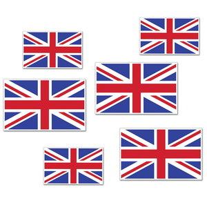 Decoraties Engelse vlaggen 6 stuks