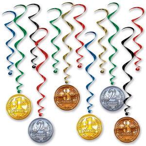 Hangdecoratie medailles 12 stuks