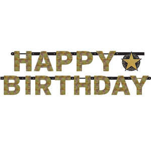 Letterslinger Happy Birthday goud zwart