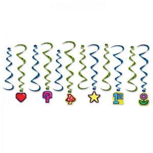 Hangdecoratie whirls Game Icons 12 stuks