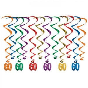 Hangdecoratie Whirls 60 jaar 12 stuks