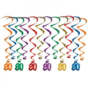 Hangdecoratie Whirls 80 jaar 12 stuks