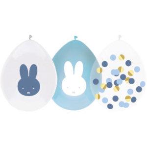 Ballonnen Nijntje blauw wit confetti 5 stuks