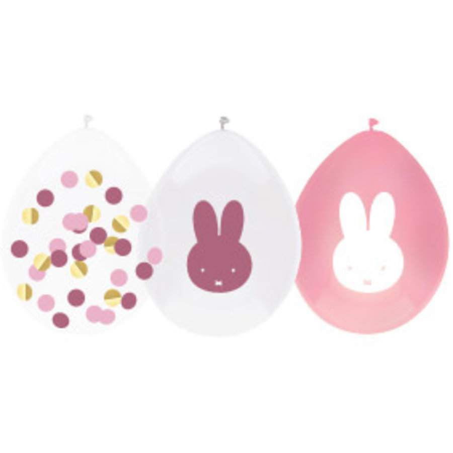Ballonnen Nijntje roze wit confetti 5 stuks