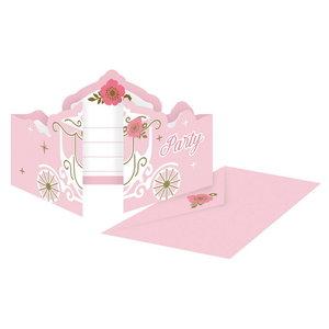 Uitnodigingskaartjes Prinsessen koets 8 stuks