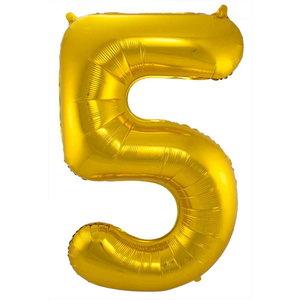 Folieballon cijfer 5 GOUD voor lucht of helium MEGA