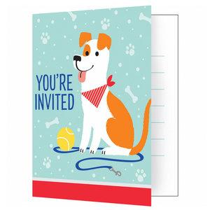 Uitnodigingskaartjes Dog Party 8 stuks