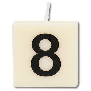 Cijfer kaarsje wit 8 jaar