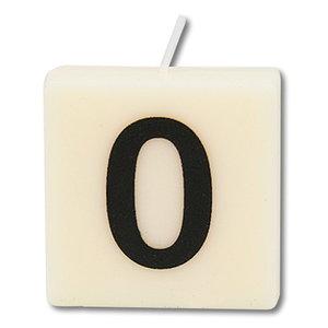Cijfer kaarsje wit 0