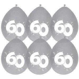 Ballonnen 60 jaar diamant 6 stuks