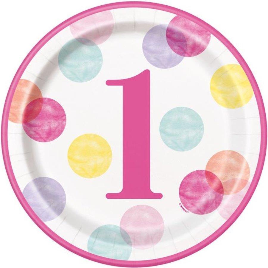 Bordjes 1 jaar dots roze