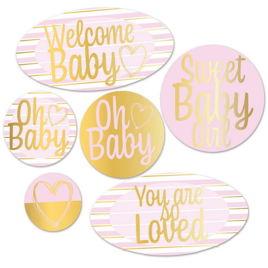 Decoraties Welcome baby roze goud 6 stuks