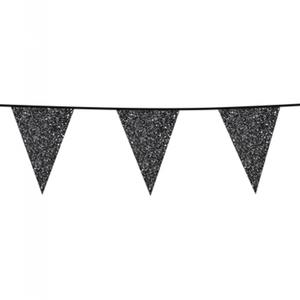 Vlaggenlijn glitter zwart 6 meter
