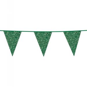 Vlaggenlijn glitter groen 6 meter
