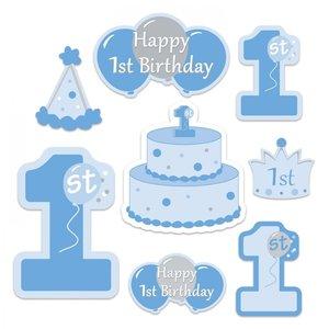 Decoratie 1 jaar Happy Birthday blauw 8 stuks