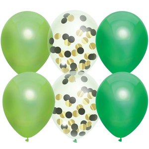 Ballonnen groen en transparant met confetti