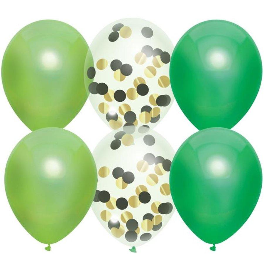 Ballonnen groen en transparant met confetti 6 stuks