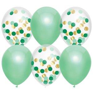 Ballonnen mintgroen en transparant met confetti
