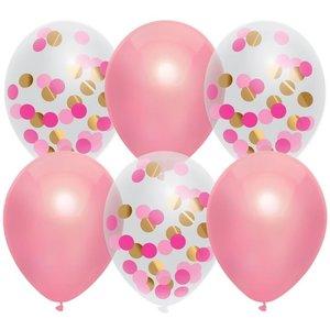 Ballonnen roze en transparant met confetti