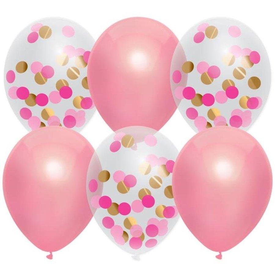Ballonnen roze en transparant met confetti 6 stuks